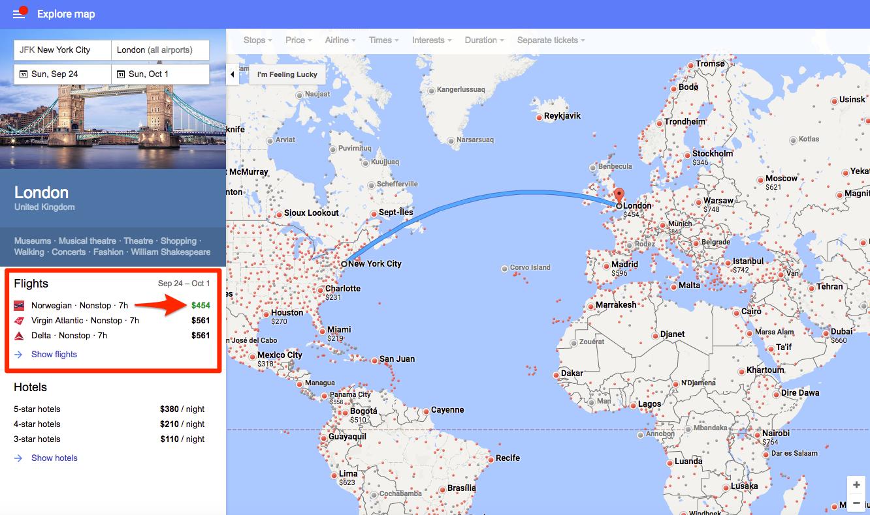 google flights explore map