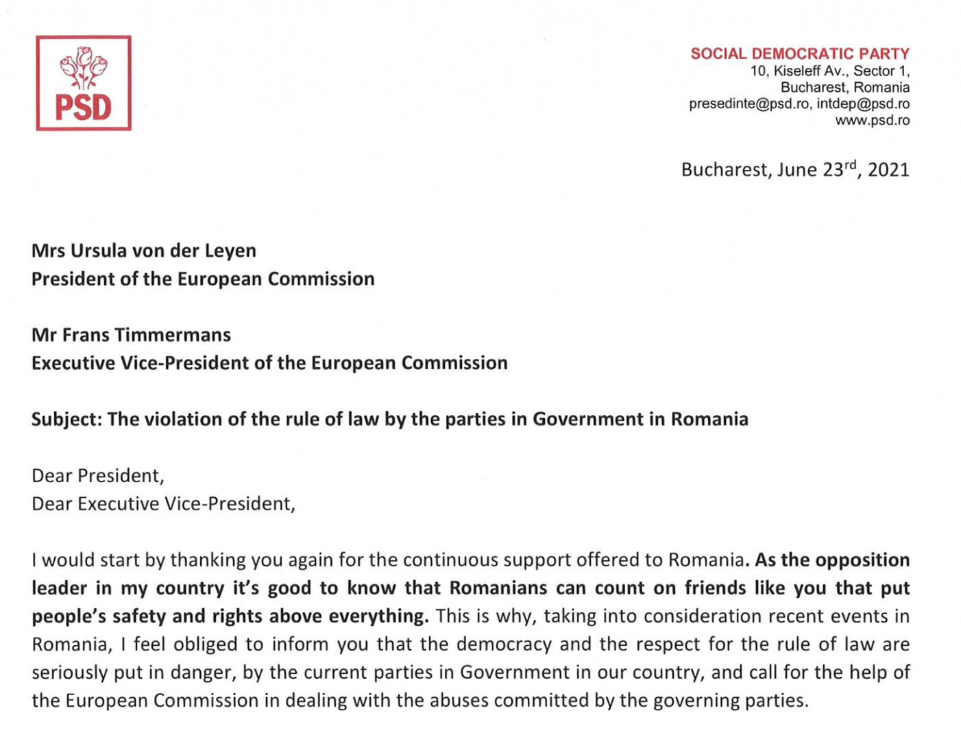 """Ciolacu, către Comisia Europeană: """"Cerem ajutor, statul de drept este serios în pericol!"""""""